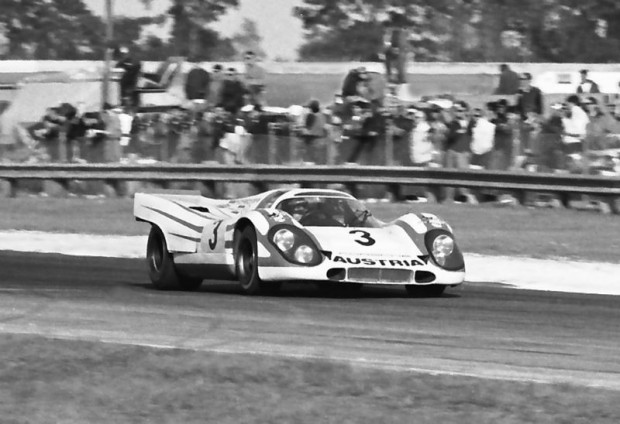 The Kurt Ahrens/Vic Elford Porsche 917K entered by Porsche Salzburg (Porsche Austria) in the 1970 24 Hours of Daytona.  The car did not finish due to a problem with the fuel tank.  Along with Wyer Automotive and Martini Racing these three teams represented the Porsche factory in endurance racing.  Initially John Wyer was not aware of the Porsche deal with Martini and Salzburg but I guess Porsche was trying to insure victory at any cost.