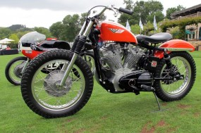 Here's one that Harley-Davidson built, a 1964 factory outlaw XLR-TT in works racing livery and very much suggesting serious performance. Love those treads!