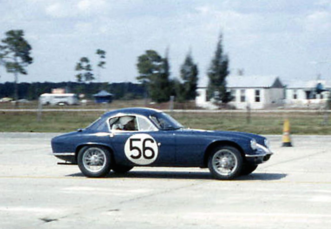 The Lotus Elite of Jim Hughes and Sam Weiss during practice.  Loss of brakes during the race would prove tragic for Hughes.  BARC boys photo.