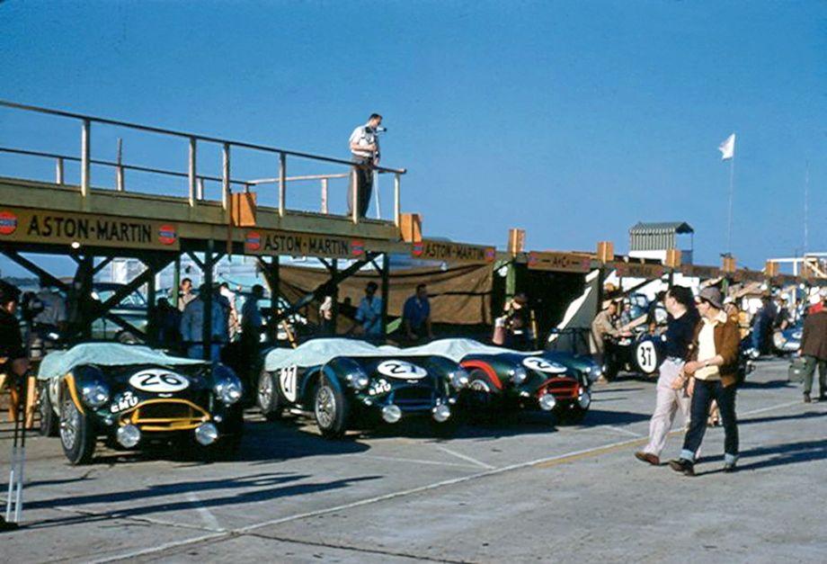 Factory Aston Martin team at Sebring 12 Hours 1956