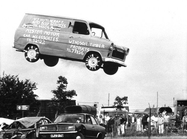 Back in 1985 stunt man Steve Matthews took his Ford Transit a bit further by leaping over 15 cars to raise money for charity. Rumour has it the only modifications were the removal of glass and an ample supply of gaffer tape to the bonnet.