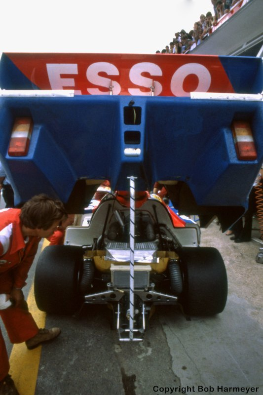 The rear bodywork is raised on a WM P82 Peugeot to allow access for a crew member, providing an excellent view of the tunnels that generated the massive downforce of the Group C cars.