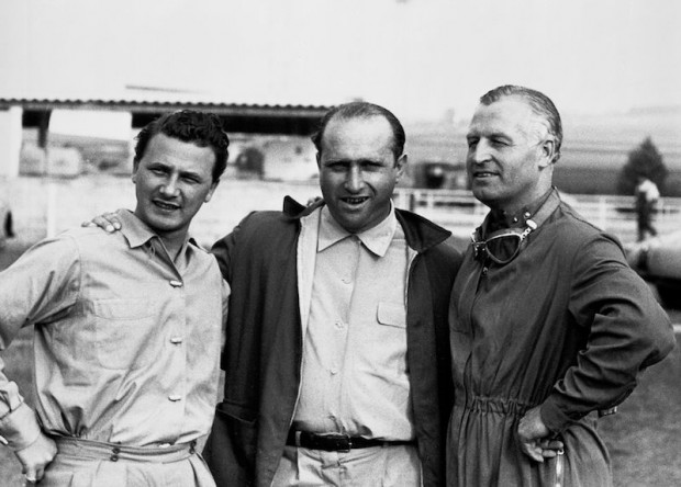 French Grand Prix, Reims 1954. The Mercedes-Benz team of racing drivers, starting from the left: Hans Herrmann, Juan Manuel Fangio and Karl Kling.