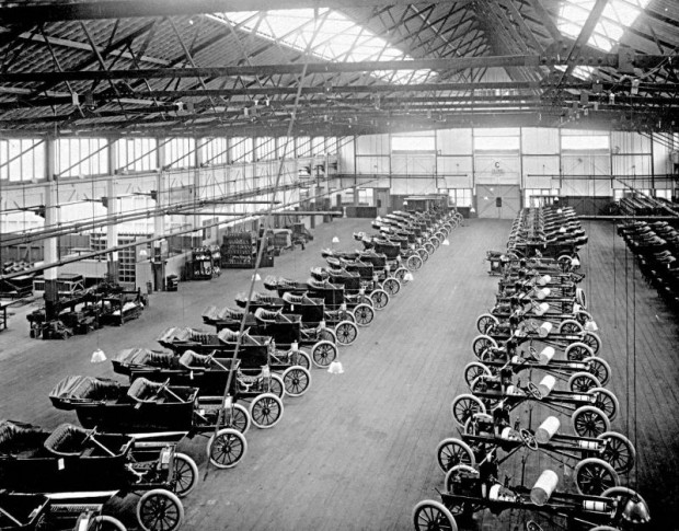 Ford factory floor of Trafford Park Plant in 1911