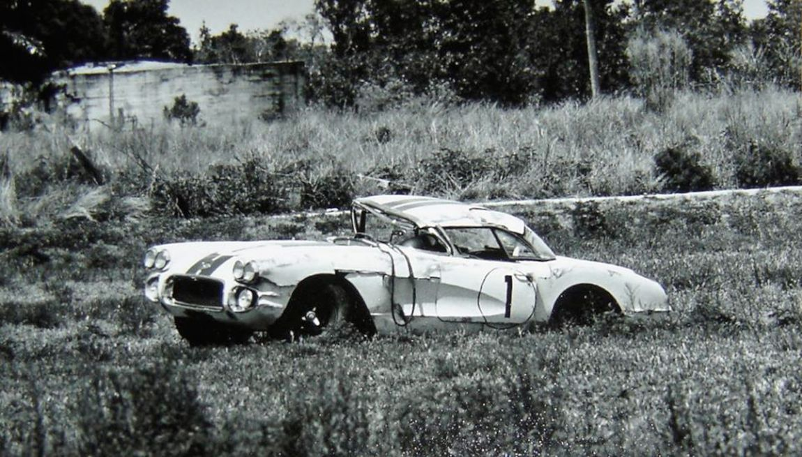What was left of the John Fitch -  Briggs Cunningham Corvette C1 after losing a wheel.  SIR photo.