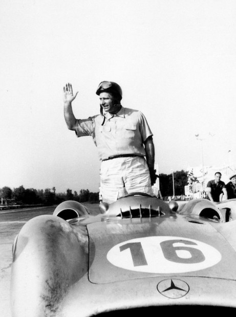 Italian Grand Prix in Monza, 5 September 1954. Juan Manuel Fangio with the Mercedes-Benz W 196 R Formula 1 racing car with Streamliner body.