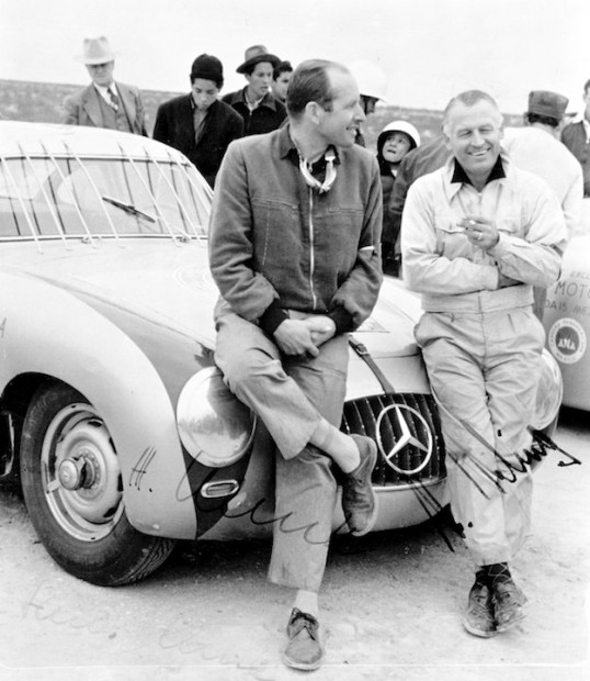 Winners Karl Kling and Hans Klenk with their Mercedes-Benz 300 SL after the legendary encounter with a vulture.