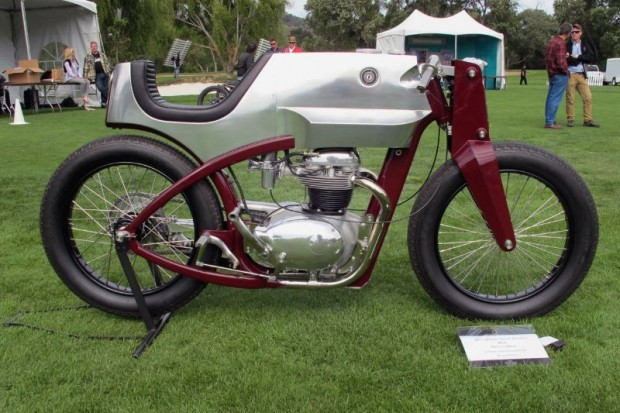 """Here's Chris Flechtner's 2010 Speed Shop Design """"Beezerker"""" into which fits a 1965 BSA A65 motor with headers entering the lower frame tubes to exhaust out back.  All parts are free-style machined out of aluminum or stainless steel."""