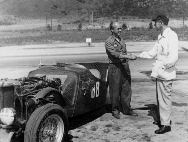 Ernie McAfee (left) did the modification work for John Edgar on Edgar's MG-TC. It was the car that Bill Pollack drove at the first Pebble Beach. (Photo: Edgar Collection)
