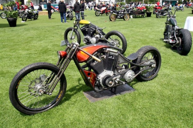 Northern California's TPJ Customs created this fenderless trio of radical machines with given names (clockwise from bottom) Hazel, Consuela, and Domino.  Beyond more conventional rides bask on The Quail's show field.