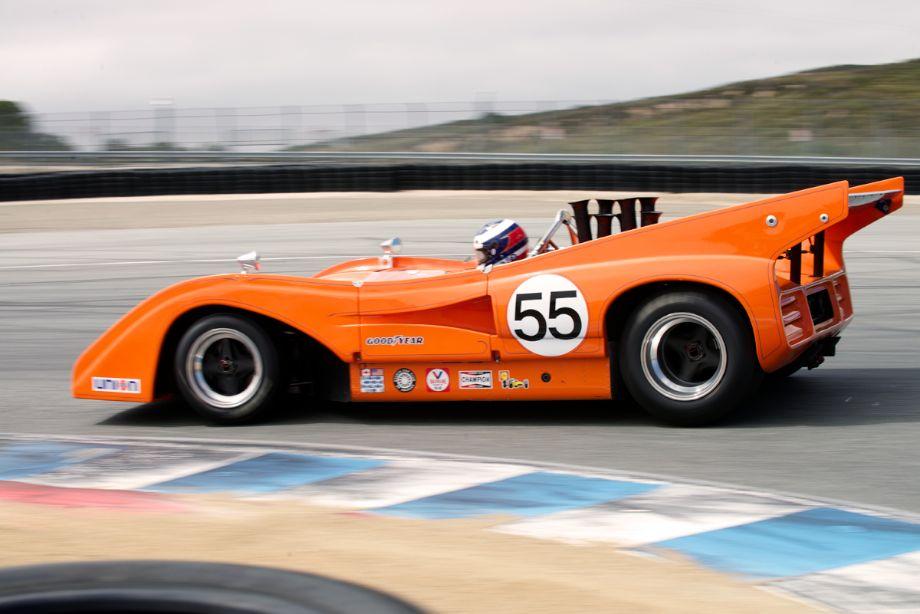 Chris Bender's 1972 McLaren M8FP in turn eleven Saturday.