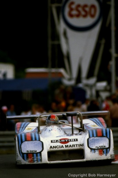 The Lancia Martini LC1 001003 of Hans Heyer, Riccardo Patrese and Piercarlo Ghinzani turns into the Ford Chicane during the early evening hours at Le Mans.