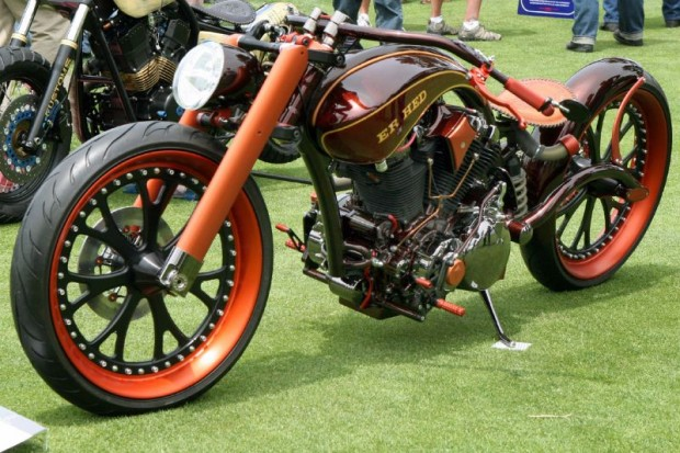 """From AFT Customs in Jackson CA, this Championship Metric """"Er Hed"""" is built around a 2004 air-cooled 1700cc Yamaha twin in daring strokes of bold elegance.  Entered by AFT's Jim Giuffra, needless to say it attracted second, third and fourth looks, probably more."""