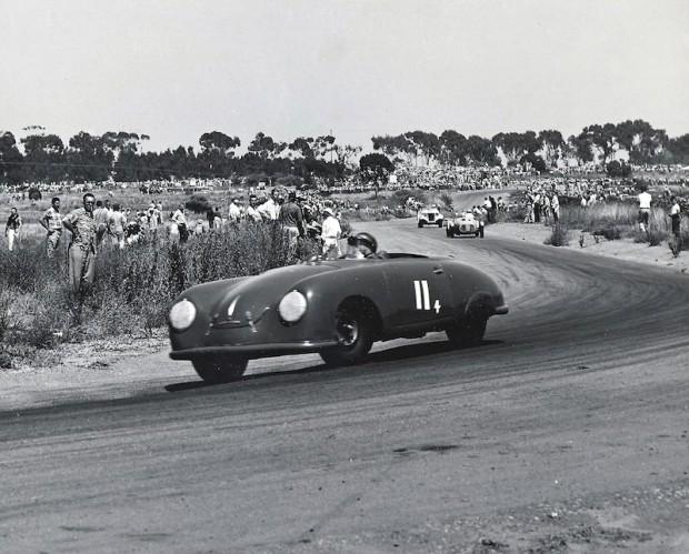 John Von Neumann racing his Porsche 356 at Torrey Pines