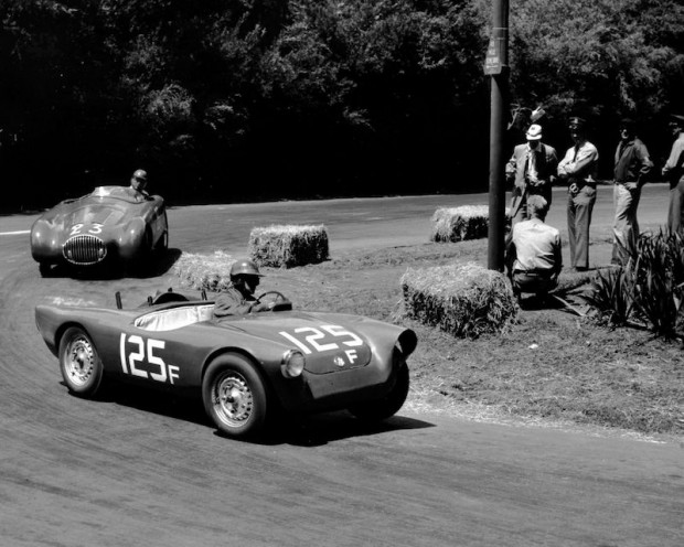 Pete Lovely in his VW-Porsche Special leading Al Coppel in his Osca MT4 at the 1954 Golden Gate. Pete and Al engaged in a race-long duel, trading places a number of times. Pete finished second and Al third. (photo credit: Pat Corner)