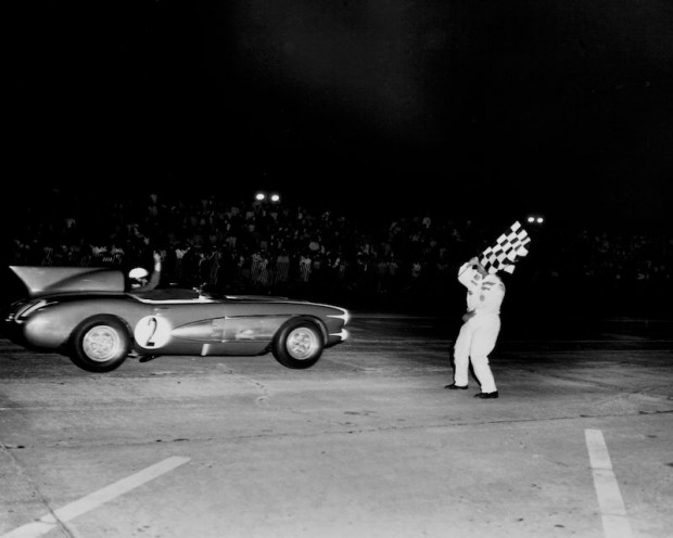 Pete Lovely in the SR2 Corvette finishing the 12-Hours of Sebring in 1956. (photo credit: GM Archives)