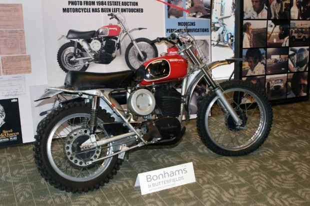 """Comes now the auction's show-stopper, with this 1971 Husqvarna 400 Cross """"Ex-Steve McQueen from the 1984 Estate Auction"""".  Offered without reserve with an estimated $50K to $70K range, bidding ended with a winner willing to go $144,500 for this 40-year old dirt bike."""