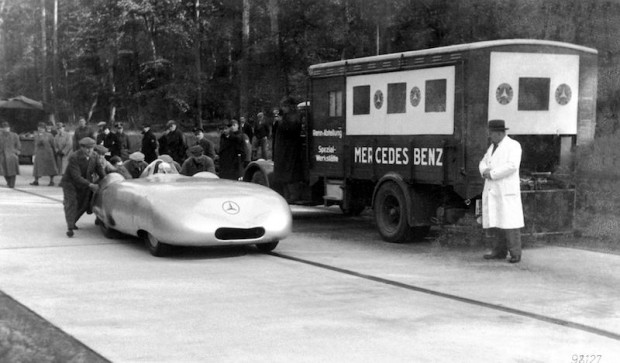 Caracciola drove this Mercedes-Benz W25 record car at 372 kph on the Frankfurt-Darmstadt Autobahn in 1936.