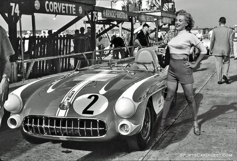 Marilyn Monroe standing next to the Chevy Corvette SR2 of Paul O'Shea and Pete Lovely.  O'Shea offered to take her for a ride around the track but her busy schedule didn't permit it.  Gene Bussian photo.