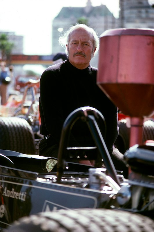 Lotus head Colin Chapman at the 1977 United States Grand Prix West in Long Beach. Two exposures then a smile and Chapman was gone. No smile for the camera.