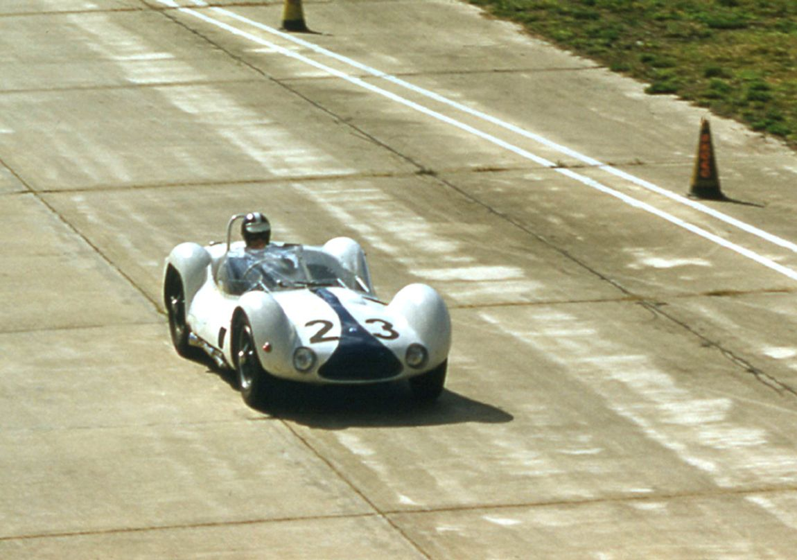 Dan Gurney was in the leading Maserati when it began to suffer rear end problems.  BARC boys photo.