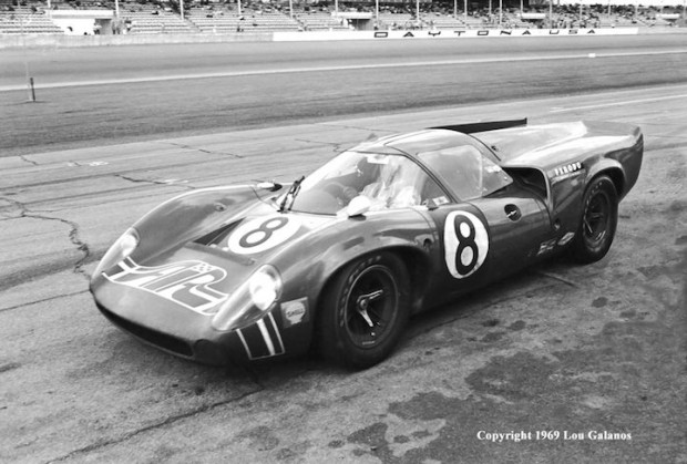 <strong>The #8 American International Racers Lola T70 Mark III entered by actor James Garner.  This car came in second and was driven by Ed Leslie and Lothar Motschenbacher.  Garner also had a film crew there to make a racing documentary eventually released as The Racing Scene.</strong>