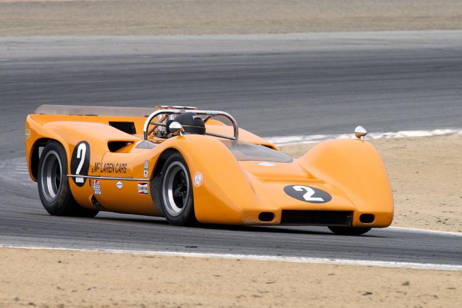 Robert Ryan's 1968 McLaren M6B in turn two Saturday morning.