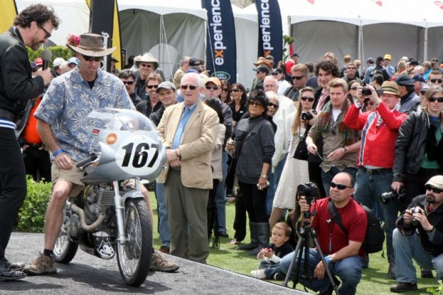 Michael A. Polkobla's 1968 Honda CL175 here is awarded second place in the Competition Through 1978 class, which was won by a 1961 Bultaco TSS 125 Factory Prototype owned by Randolf Reed.
