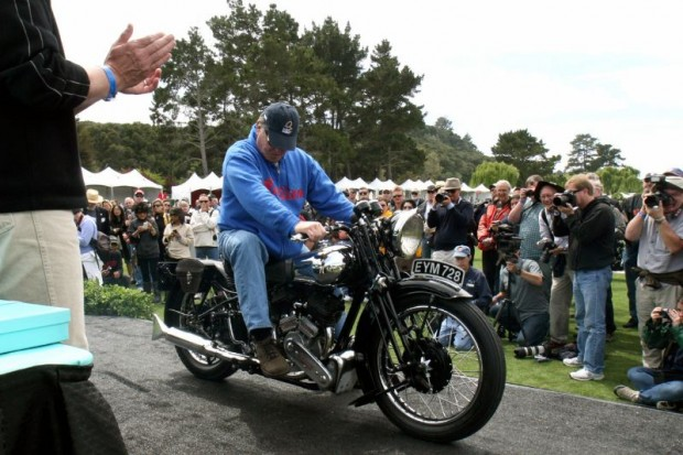 Gene Brown makes sure his Best of Show winning 1938 Brough Superior SS-80 is in neutral before savoring The Quail Motorcycle Gathering's top award for 2011.