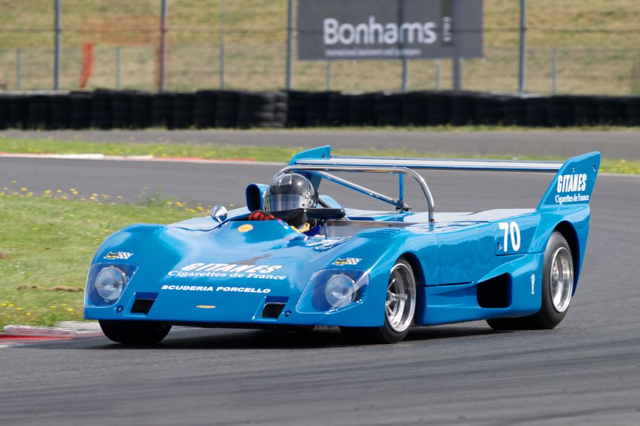 Accelerating out of twelve John Hill in his 1972 Lola T292.