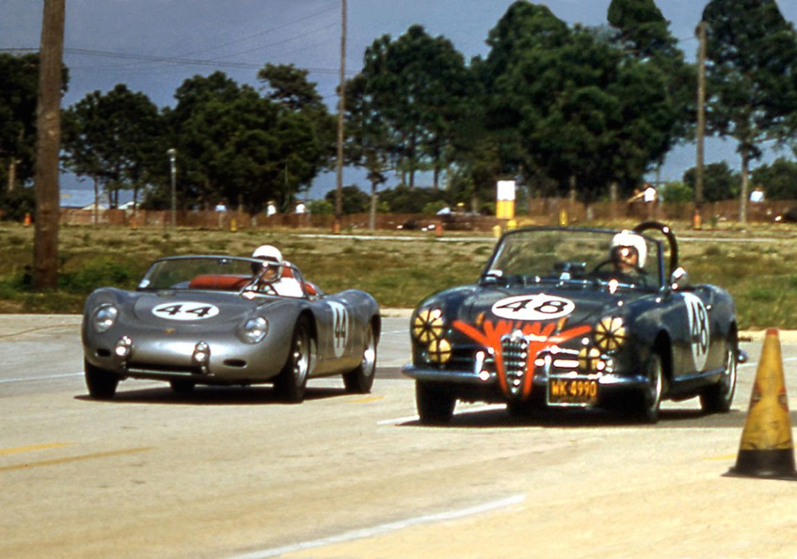 The Holbert - Schechter Porsche powers by the Milliken - Argetsinger Alfa on their way to 2nd overall.  The Alfa finished 27th.  BARC boys photo.