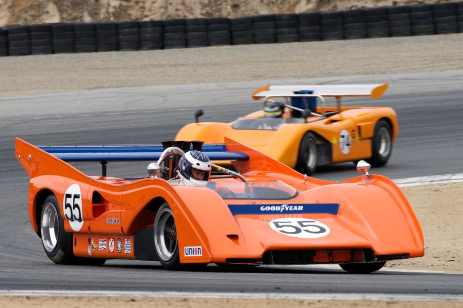Chris Bender's 1972 McLaren M8FP in two at Laguna Seca for the Legends of Motorsports Powered by HMSA event (photo: Dennis Gray)