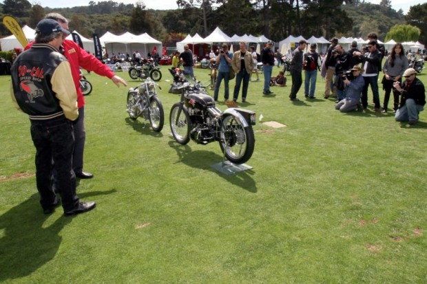 Star motorcycles at The Quail unite when the 2011 Black Falcon (left) is parked with the 1948 John Edgar Lightning speed-record Vincent.  Herb Harris talks about the Vincent that was his for 15 years until selling it last December.