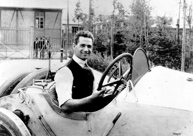 Ralph de Palma in his 115 hp Mercedes Grand Prix race car (1914)