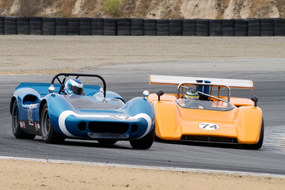 Bob Hardison's 1966 McLaren M1B and Tom Malloy's 1971 McLaren M8E in turn two.