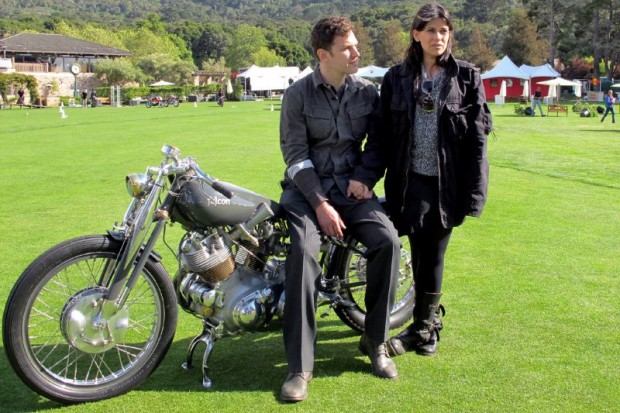 Late in the afternoon, with The Quail Motorcycle Gathering show field all but cleared, Ian Barry and Amaryllis Knight pose with their Black Falcon for media.