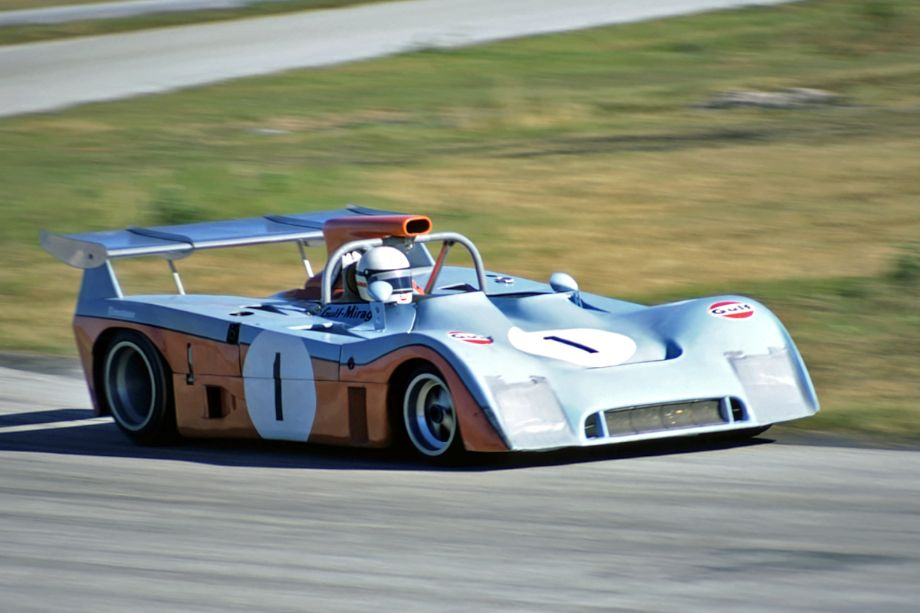 In the early minutes of the race Derek Bell kept his Mirage in the lead.  Unfortunately it began to falter on the back straight and was passed by the other prototypes.  Fred Lewis photo.