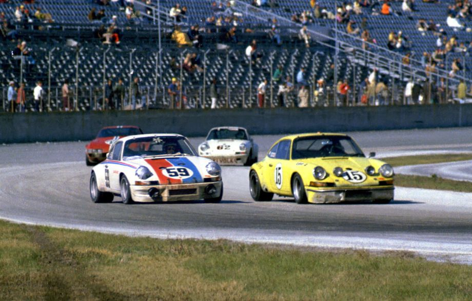 The race had terrible attrition with only nineteen of the original 53 starters finishing.  Amazingly all four of these cars finished with the #59 coming in first, The red Ferrari coming in second, the yellow Porsche coming in eighth and the white #62 Porsche coming in tenth.  Louis Galanos photo.