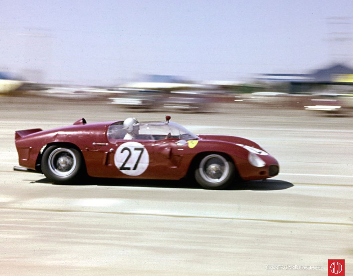 The rear-engine Ferrari Dino 246 of Wolfgang von Trips (driving) and Richie Ginther. The car failed to finish due to a broken steering arm. (Photo: www.barcboys.com)