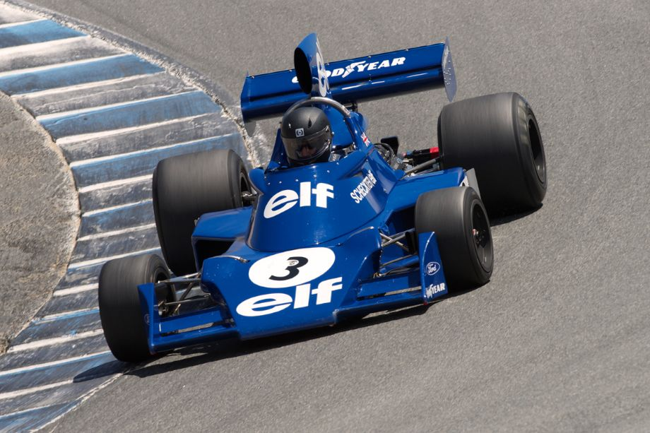Nicholas Colyvas in his 1974 Tyrrell 007 F1 in the Corkscrew Sunday.