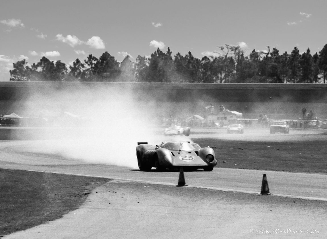 In the final minutes the Tony Adamowicz Ferrari 312P suffered a minor oil leak but still finished the race. (Lou Galanos photo)