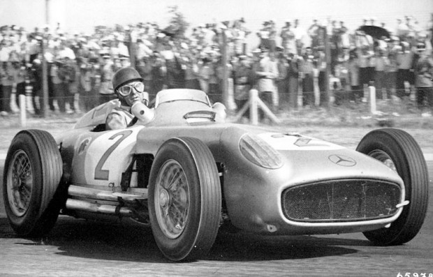 Argentinean Grand Prix in Buenos Aires, 16 January 1955. Winning driver Juan Manuel Fangio in the Mercedes-Benz W 196 R racing car. Fangio was the only top driver to go the duration of the race without being relieved and won easily.