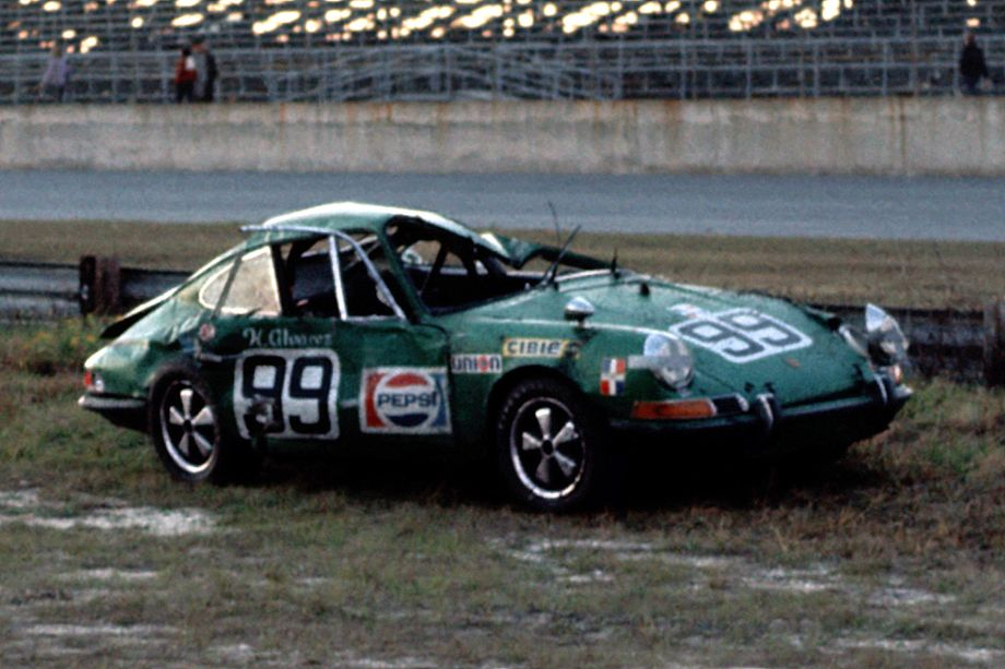 What was left of the Horacio Alvarez - Diego Febles Porsche 911S after Alvarez rolled it several times coming off NASCAR four.  Fred Lewis photo.