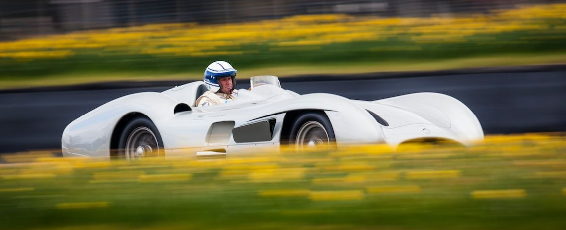 Jochen Mass aboard the Mercedes-Benz W196 R Streamliner (Photo: Drew Gibson)