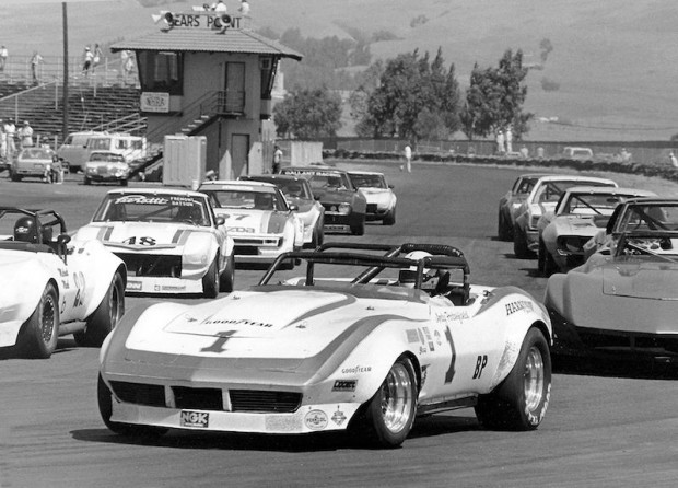 Andy Porterfield in the Harry Mann Corvette at Sears Point in 1978.