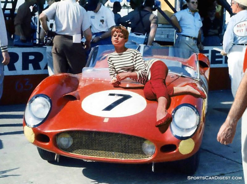 French film sensation Brigitte Bardot relaxes atop a NART Ferrari at Sebring in 1960.  Dave Nicholas photo.