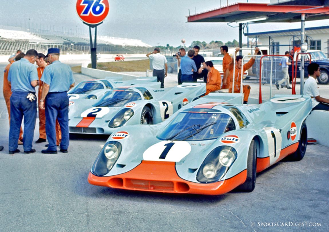 The factory Gulf Porsche 917K team at Daytona in 1970. The team included two racers and one practice 917K. (Fred Lewis photo)