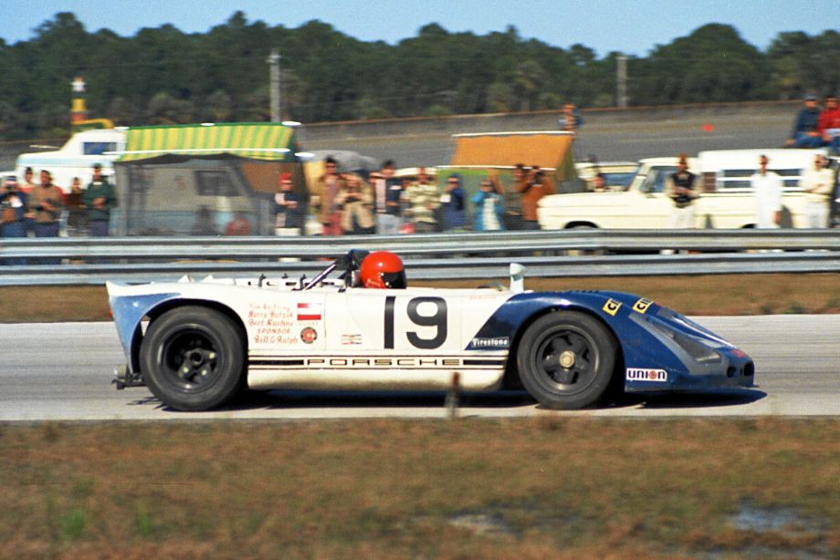 Canadian Harry Bytzek  with fellow Canadians Rudy Bartling and Bert Kuehne drove this Porsche 908/02 at Daytona.  They qualified 5th and finished in 12th position.  Louis Galanos photo.