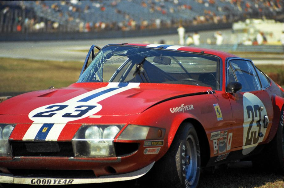 Badly damaged NART Ferrari 365 GTB/4 Daytona. Louis Galanos photo.