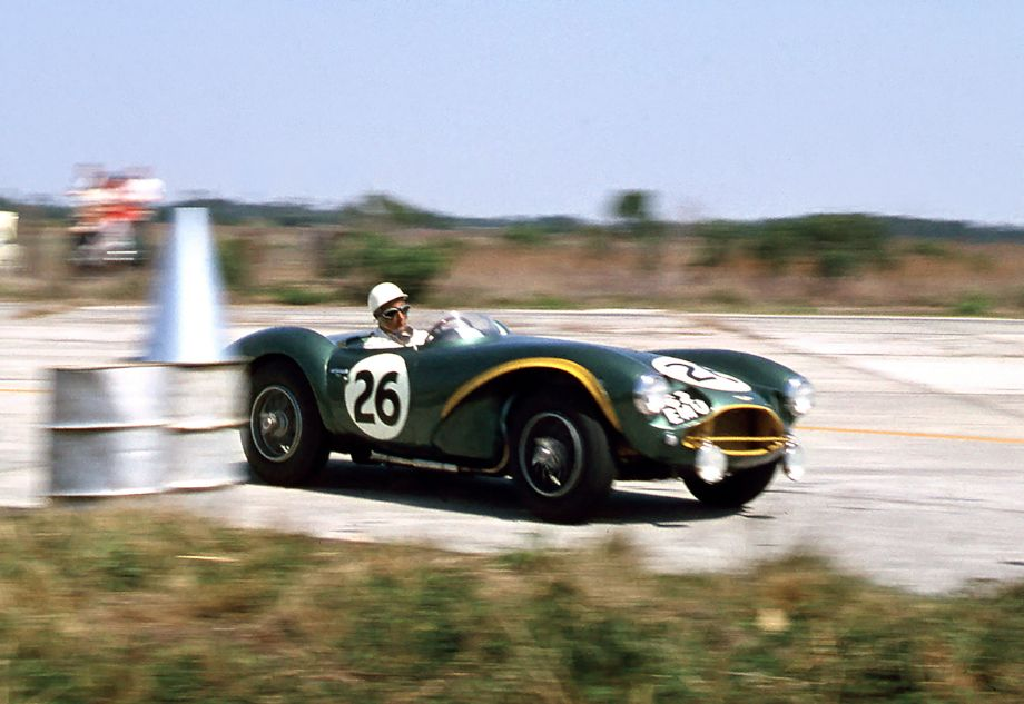 Stirling Moss in Aston Martin DB3S at 1956 Sebring Twelve Hours